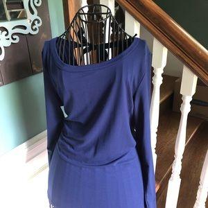 Bobeau blue open-back blouse